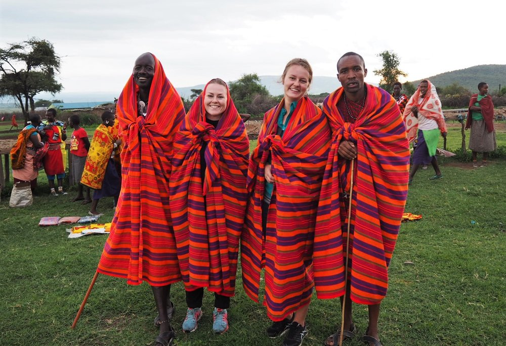 Line (Aurora's friend) and Aurora were happy with their new Maasai clothing.