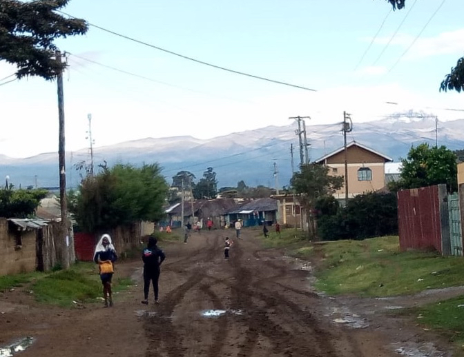In the afternoon, we go grocery shopping, work out, or try to explore our new town. Can you spot Mount Kenya?