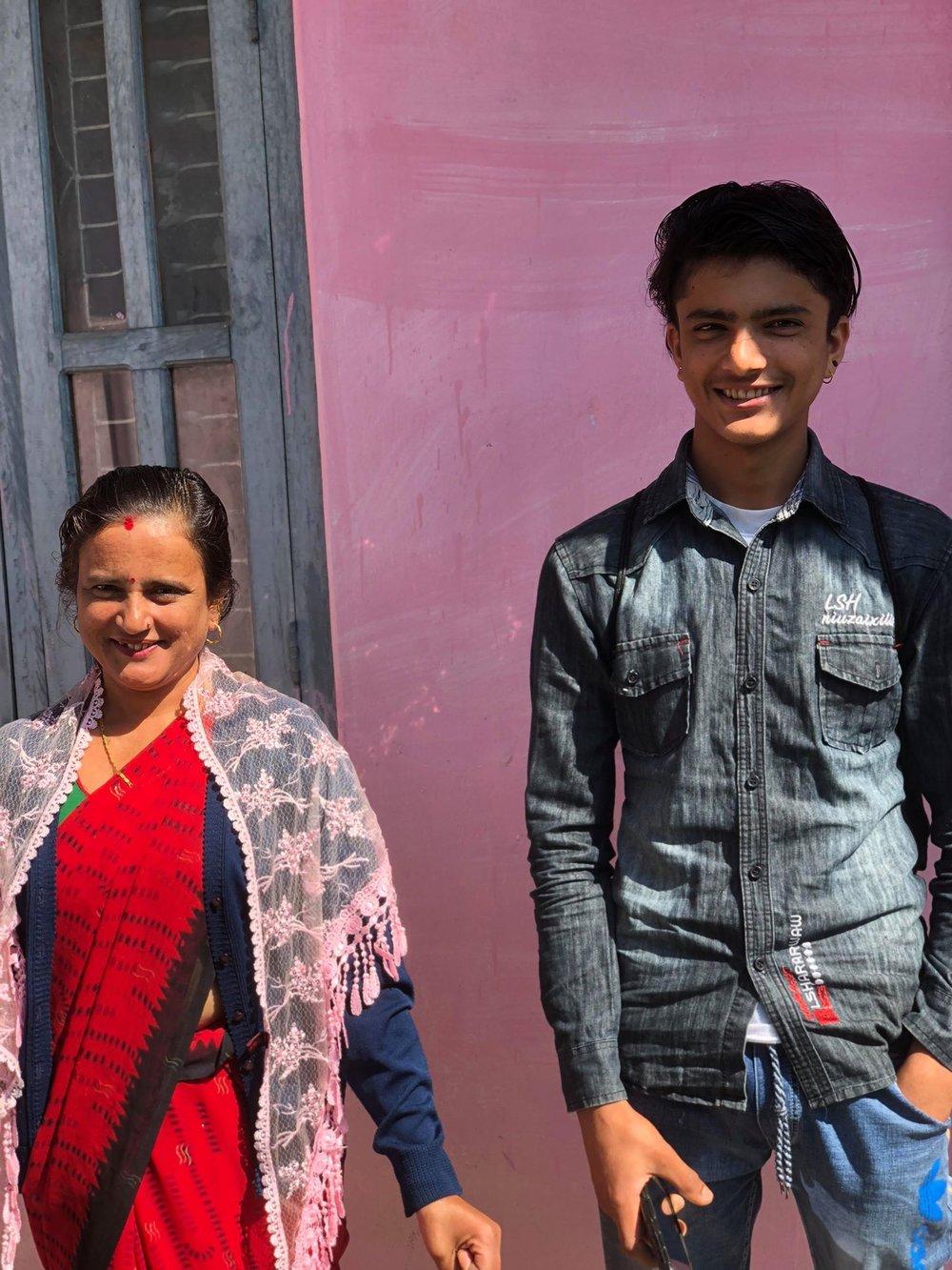 Shobha Devi Sharma together with her youngest son Sagar Jung Paudel  Photo: Svanhild Gjeraker