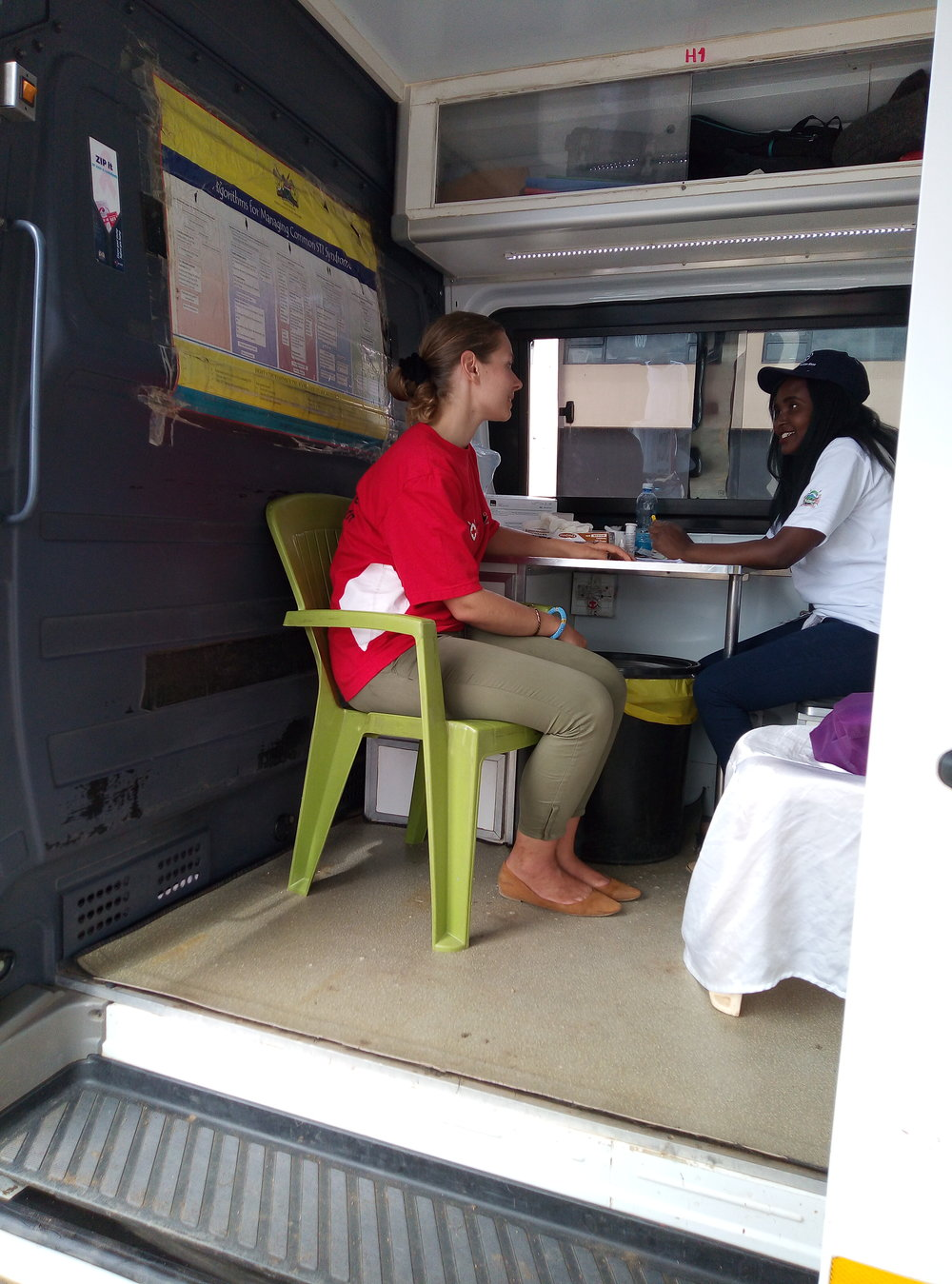 Elfi in a consultation before doing the bloodtest. Photo: KRCS staff