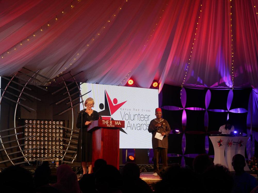 Elin Bergithe Rognlie, Norwegian Ambassador to Kenya making a speech during the volunteer awards. KRCS Governor Dr. Mohammed Said to her right. Photo: Elfi Thrane Bemelmans.