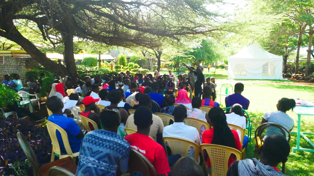 Plenary session one morning at the camp. Photo: Elfi Thrane Bemelmans