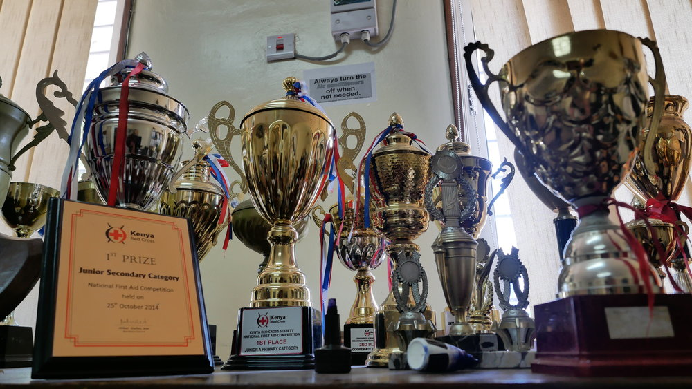 Remember the KRCS Volunteer Awards in December? Mombasa Branch won one price after the other during the ceremony, and this is where they ended up on display. Photo: Elfi Thrane Bemelmans.