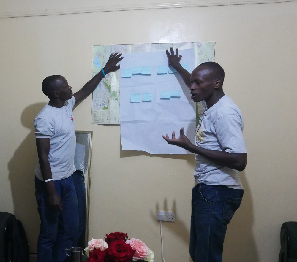 Youth Chair Amos Koech and BYC member Edwin Kagiri present their ideas to the group. Photo: Elfi Thrane Bemelmans.
