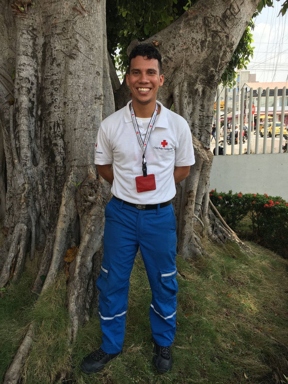 "We hereby present you Cesar, a volunteer in Red Cross, Colombia. Cesar is also the coordinator of the Youth Program, which is called ""Programa escolar"", they visit schools and spend time with the students teaching about first aid and about Red Cross."