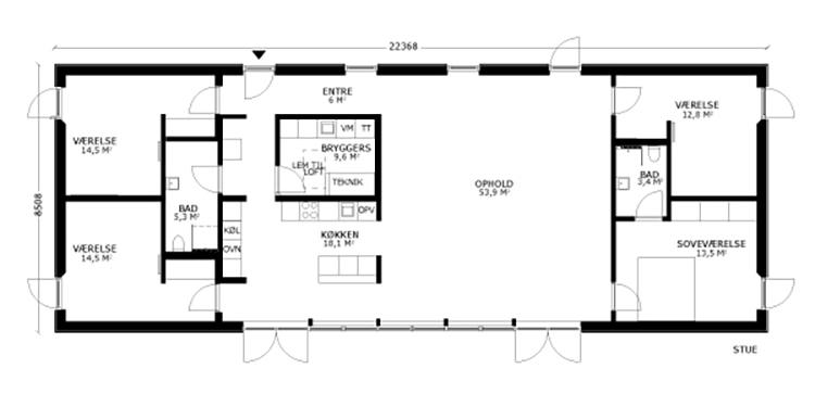 oneroom one 190 m2 stue
