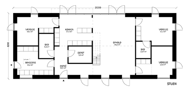 oneroom one 200 m2 stue