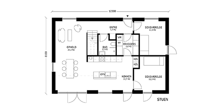 oneroom compact 175 m2 stue