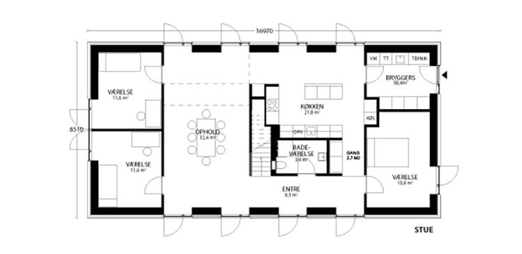 oneroom compact 240 m2 stue