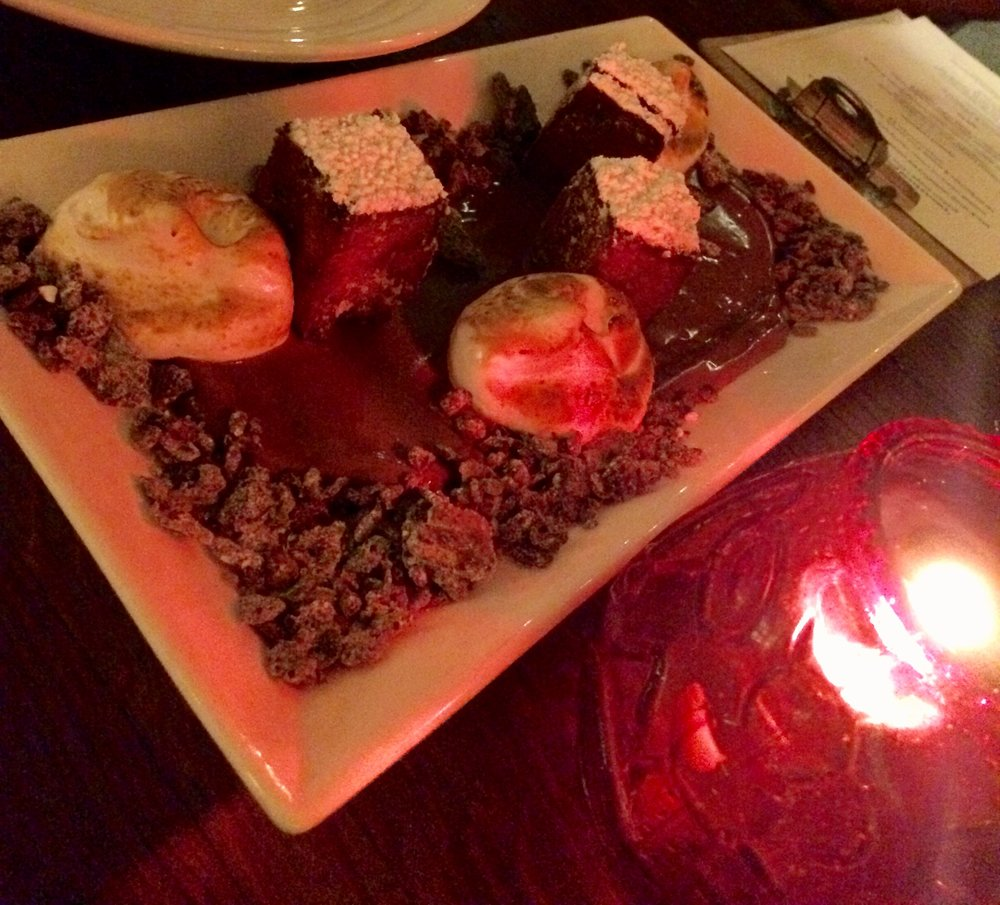 Get your glamp on with the S'mores Bread Pudding by candlelight.