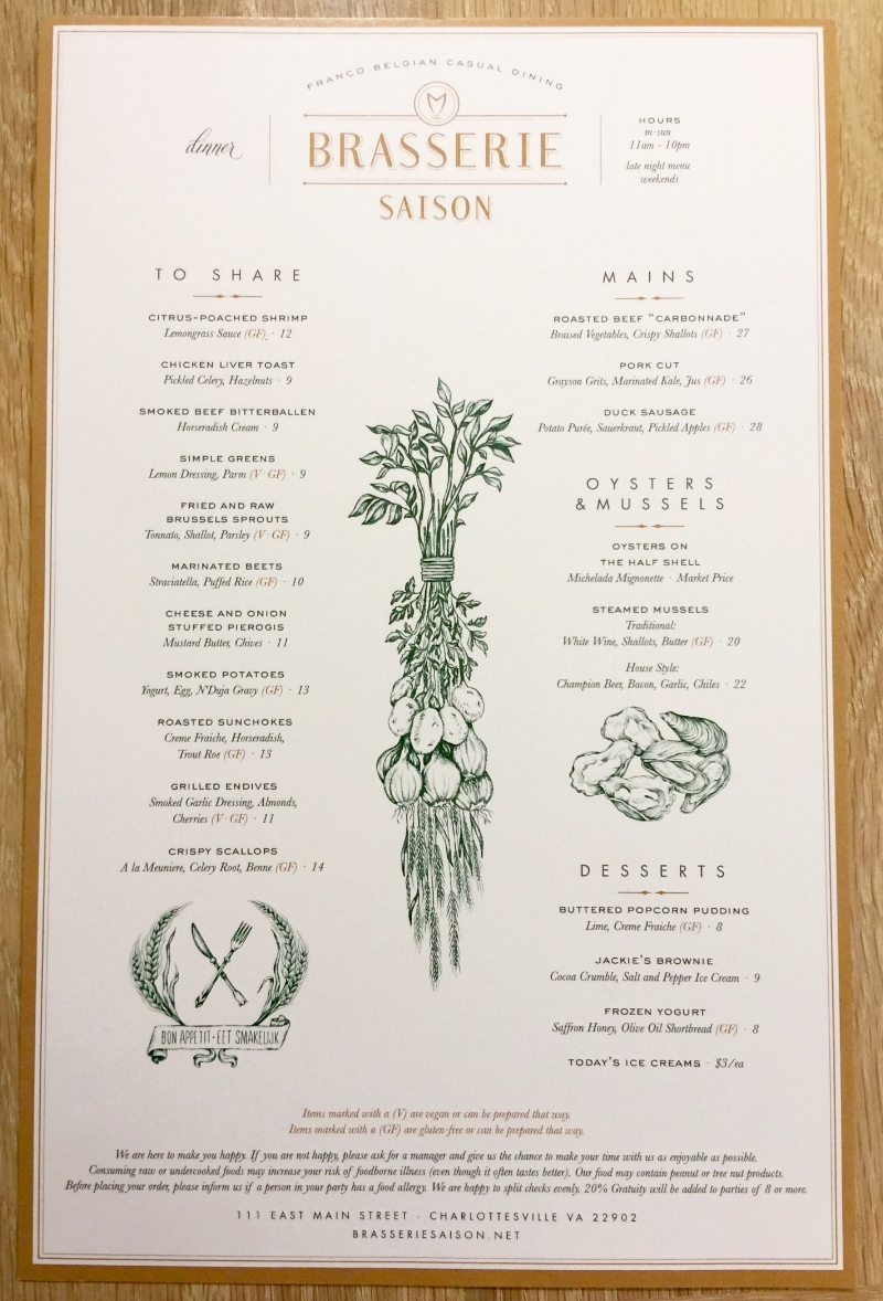 Menu brought to you by the brilliant design minds at Watermark Design.
