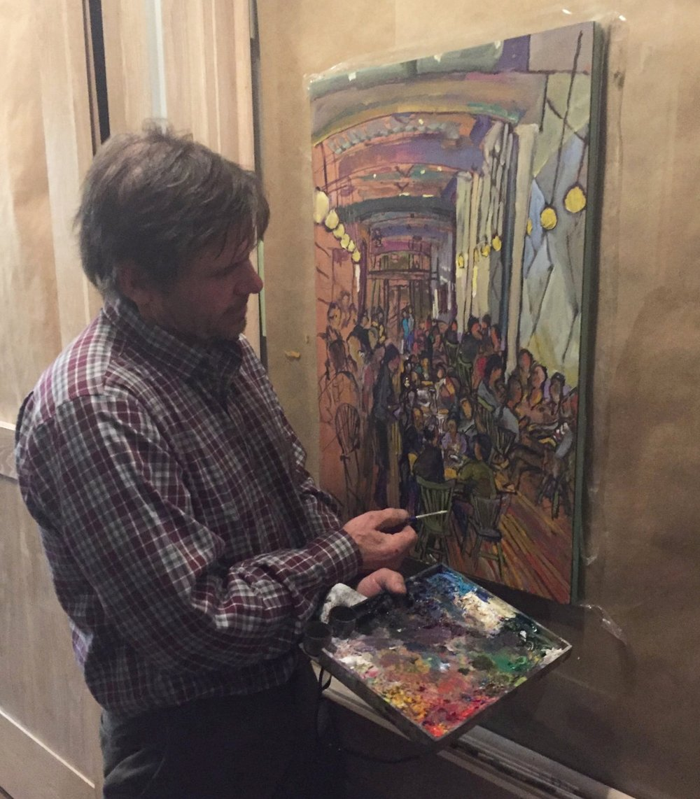 Local artist Randy Smith paints Brasserie Saison's first night.
