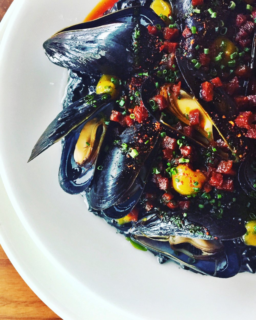 Squid Ink Risotto, Mussels, Chorizo, Meyer Lemon Confiture
