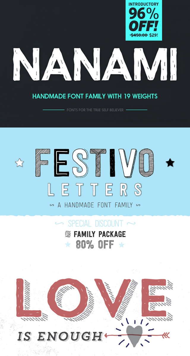 Handmade Fonts to give your next design project a little more personality and interest! | Favorite Fonts on Kitty & Buck