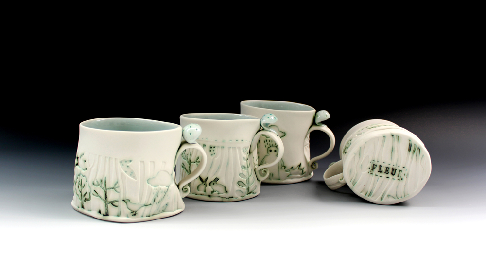 Porcelain cups 2016 set of 4  Fleur Schell.jpg underneath.jpg low res.jpg