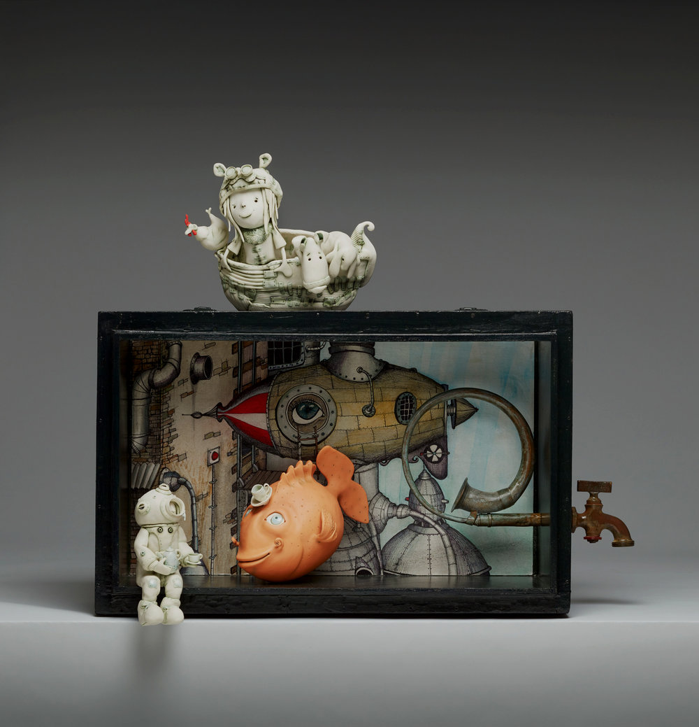 'Deep sea diver, Do fish drink?' Width 75cm x Height 65cm x Depth 33cm porcelain and mixed media wall mounted tableau.