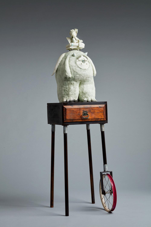 'The monster under Harry's Bed' Width 43cm x Height 160cm x Depth 58cm porcelain, mixed media