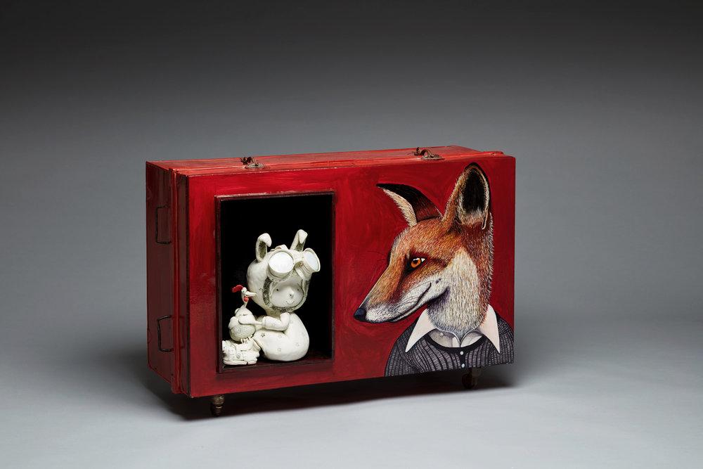 'Unlikely Friendship'Width 90cm x Height 65cm x Depth 40cm porcelain, mixed media