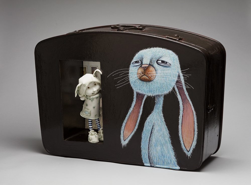 'The blue rabbit in my wardrobe'  Width56cm x Heigh65cm x Depth30cm   Porcelain and mixed media 2017