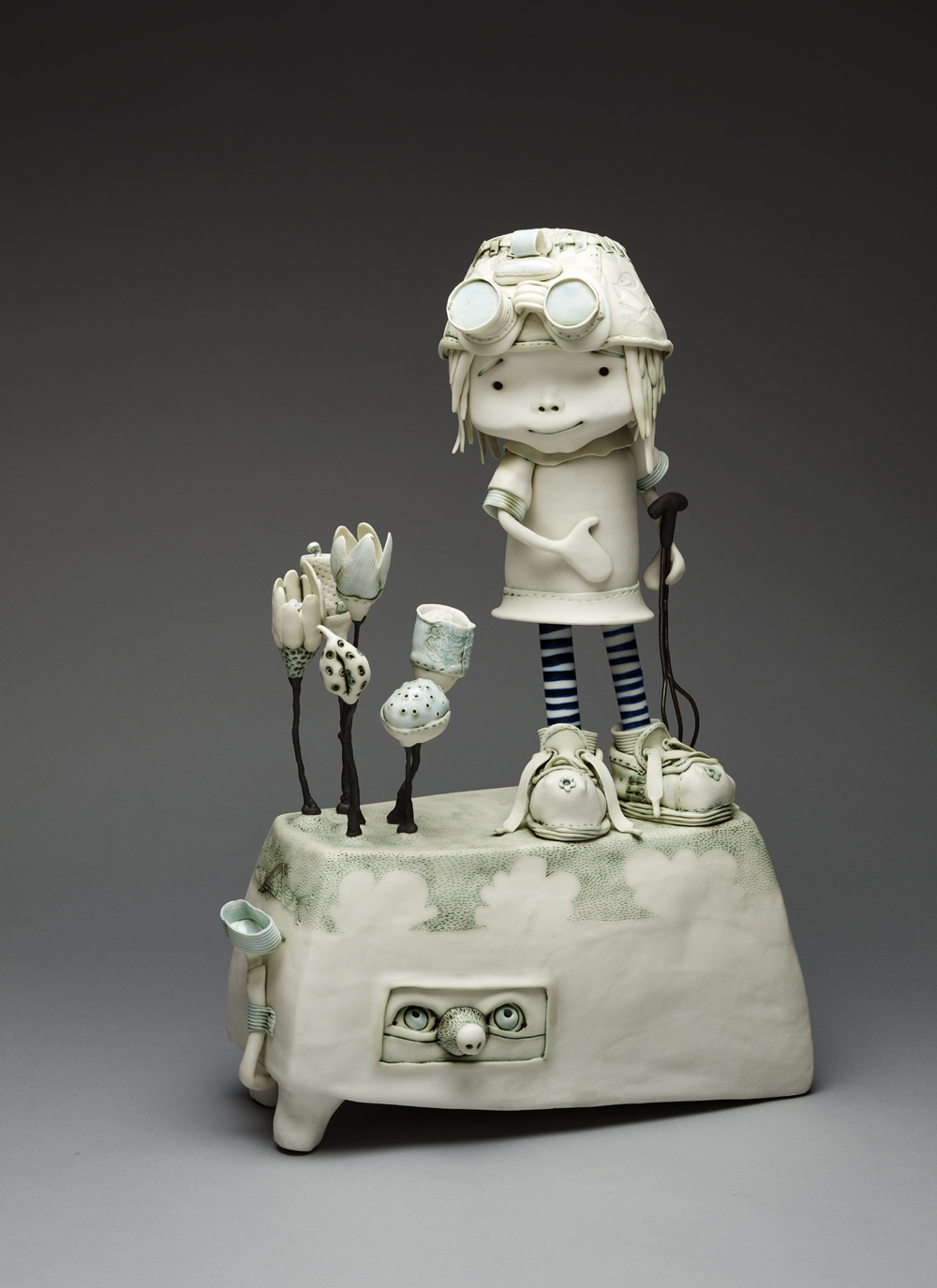 'The secret under my garden' Width 19cm x Height 63cm x Depth 19cm Porcelain and mixed media