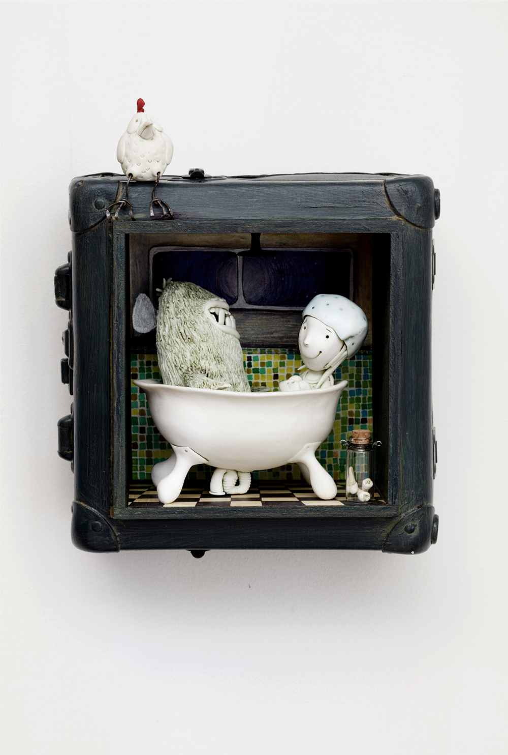 'Negotiating with the Tooth Fairy'W30cm x H35cm x D15cm Porcelain, found object and illustration wall mounted tableau