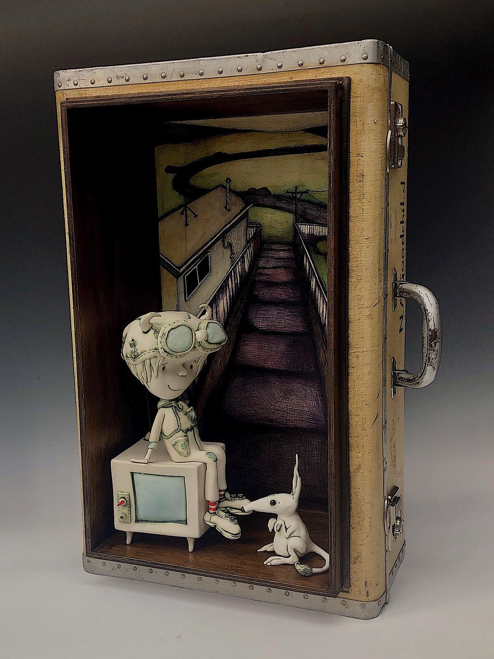 'The road no one seems to take any more'' porcelain, illustration and vintage suitcase.w34cm x 67cm x 27cm