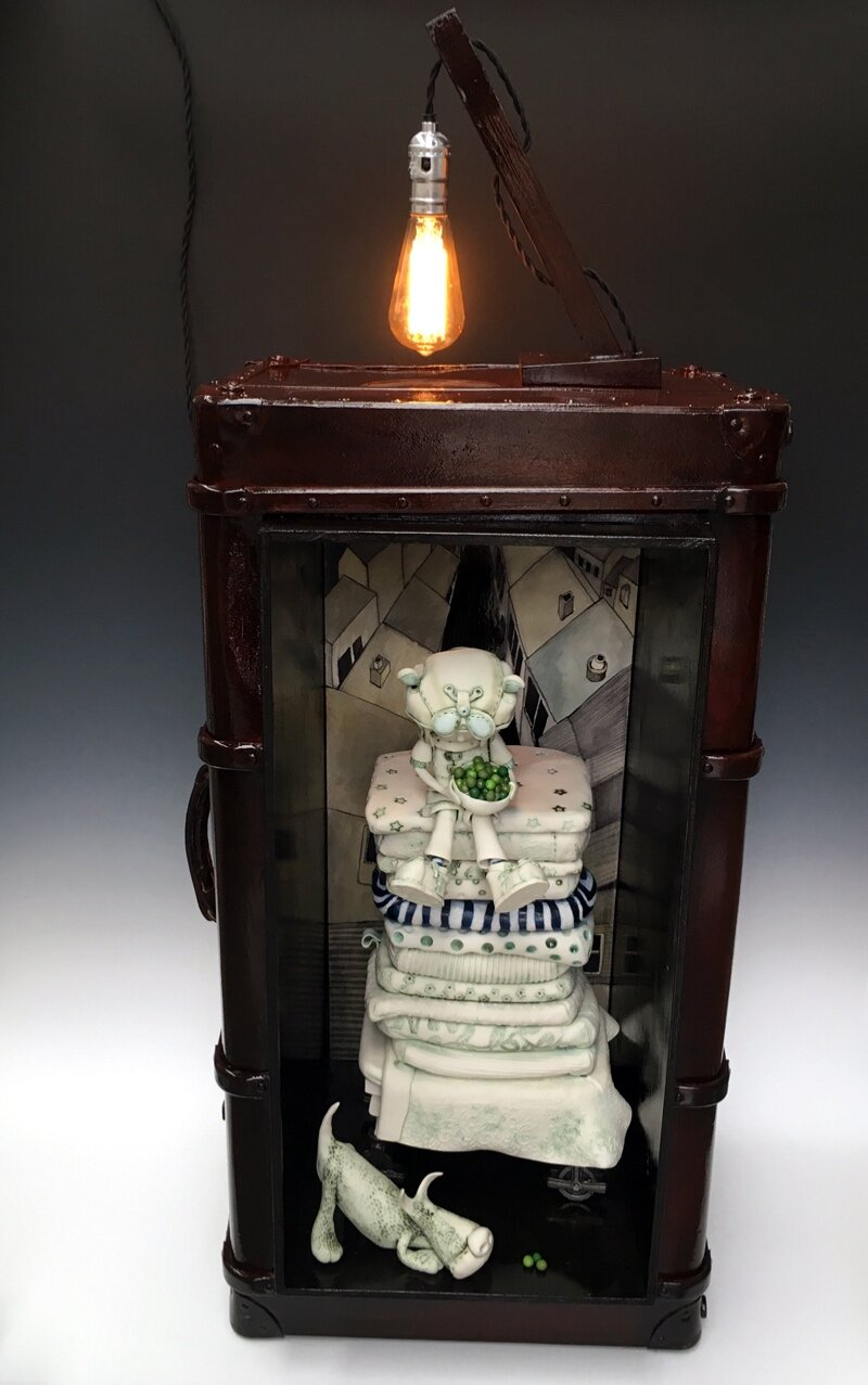 'The Opportunist' - W50cm x H110cm x D40cm  Porcelain and mixed media