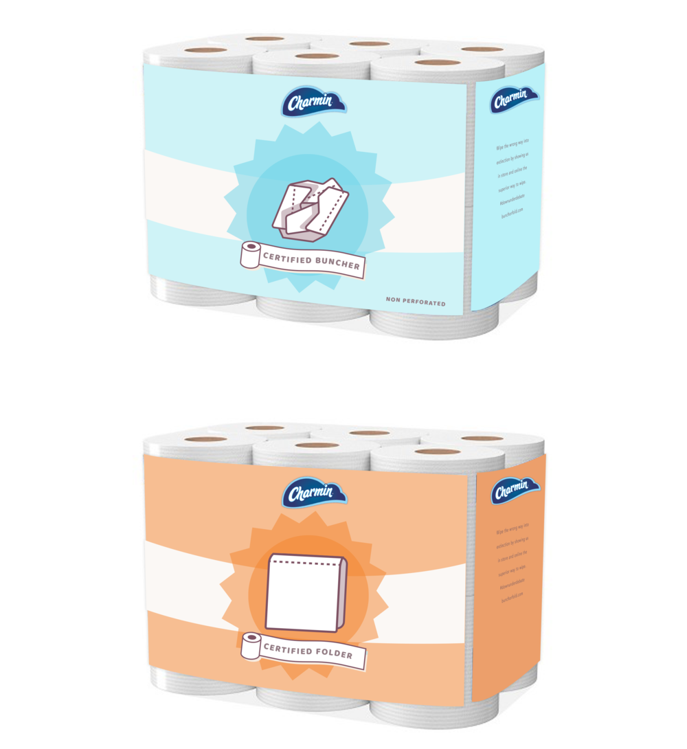 In store, Charmin will sell specialty branded packs of TP for both sides of the wipe war and drive them to the site to vote.