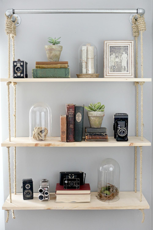 DIY hanging rope shelf - Lucy Akins