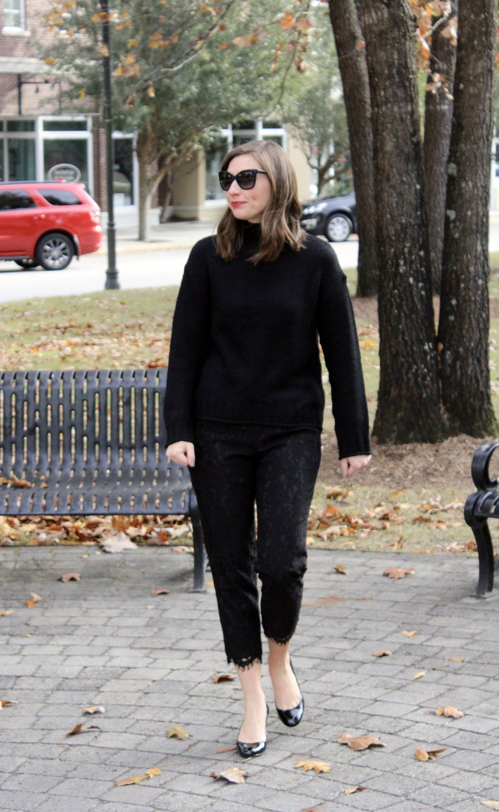 eb6c7aee5cb sweater: bp. nordstrom here; pants: j.crew old, this year's version here;  shoes: coach old, similar here; sunglasses: banana republic here; earrings:  banana ...