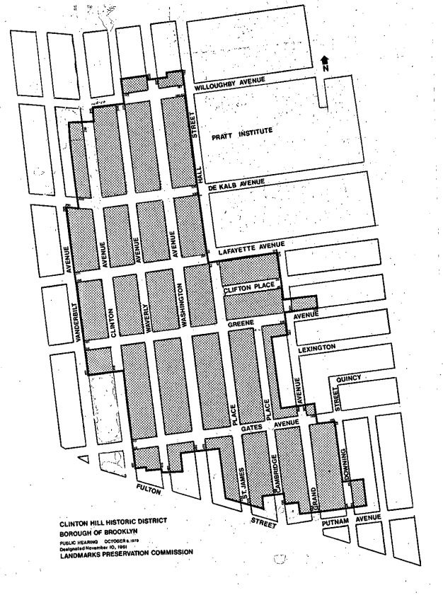 Map of Clinton Hill Historic District. Image available via nyc.gov
