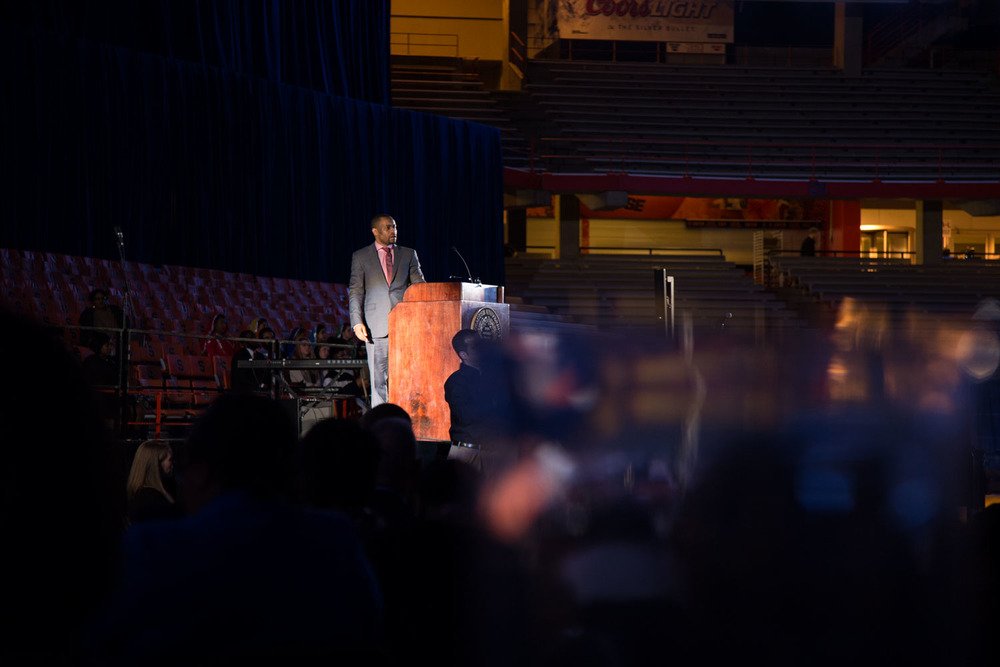 Marc Lamont Hill took the stage to give a speech as he was the keynote speaker for the MLK Celebration at Syracuse University on Sunday, January 31, 2016. Photo by Sandra Stelmach.