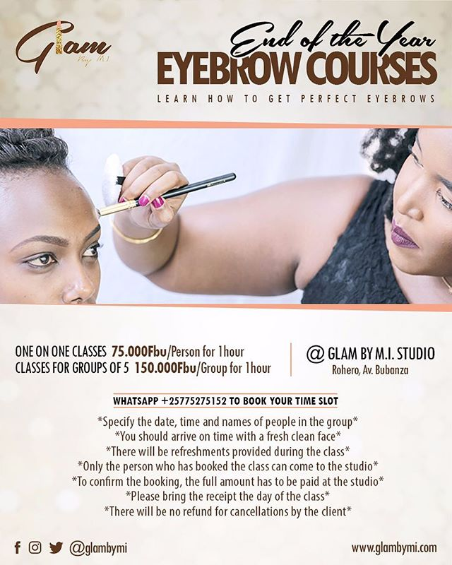 The first on the list of many makeup courses I have planned for you : eyebrows! This is the most requested tutorial and I'm excited to announce that I'll be offering one on one classes and group classes!  During these classes I will teach you the way to shape, correctly groom and fill in your eyebrows.  I'll also be taking orders on products you wish to buy. New stock coming soon, make sure you get your order in!  To book your slot, you can whatsapp me +25775275152 or DM on here or facebook. You can also get the poster on the facebook page facebook.com/glambymi.  #makeover #makeupartist #wakeupandmakeup #makeupaddict #dressyourface #mua #beatthatface #makeupjunkie #instamakeup #makeuplover #makeupoftheday #motd #ilovemakeup #amuaskillingit #burundiangirlskillingit #burundiangirls #samanthamua #facebeat #africanmuaskillingit #wearebye #burundionthemap #burundianfashiz #burundi