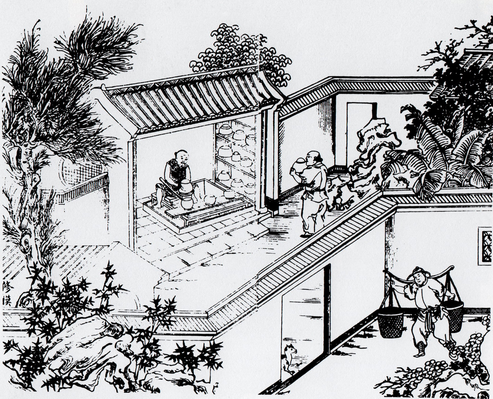 Woodcut from the  Tao Lu  showing the preparation of porcelain moulds, 1815  © Division of Rare and Manuscript Collections, Cornell University Library