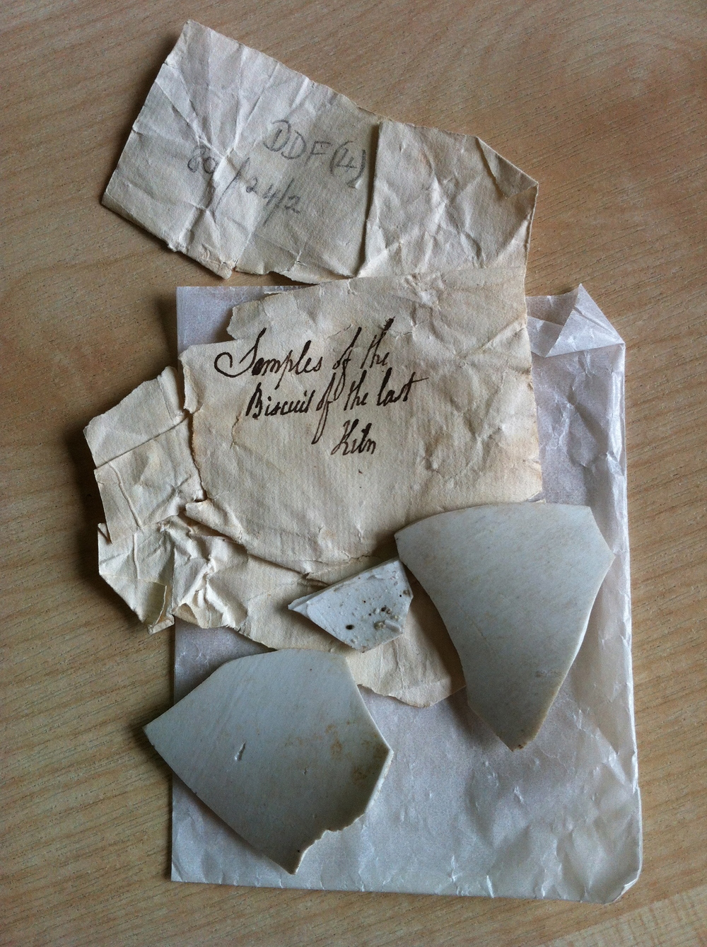 Shards from Cookworthy's porcelain experiments, 1766 © Cornwall Record Office, F/4/80 / Nerissa Taysom
