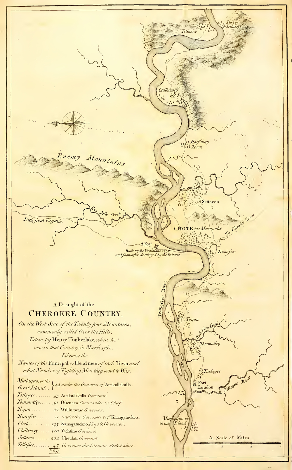 Map of the Cherokee country, 1765 © University of Pittsburgh Library