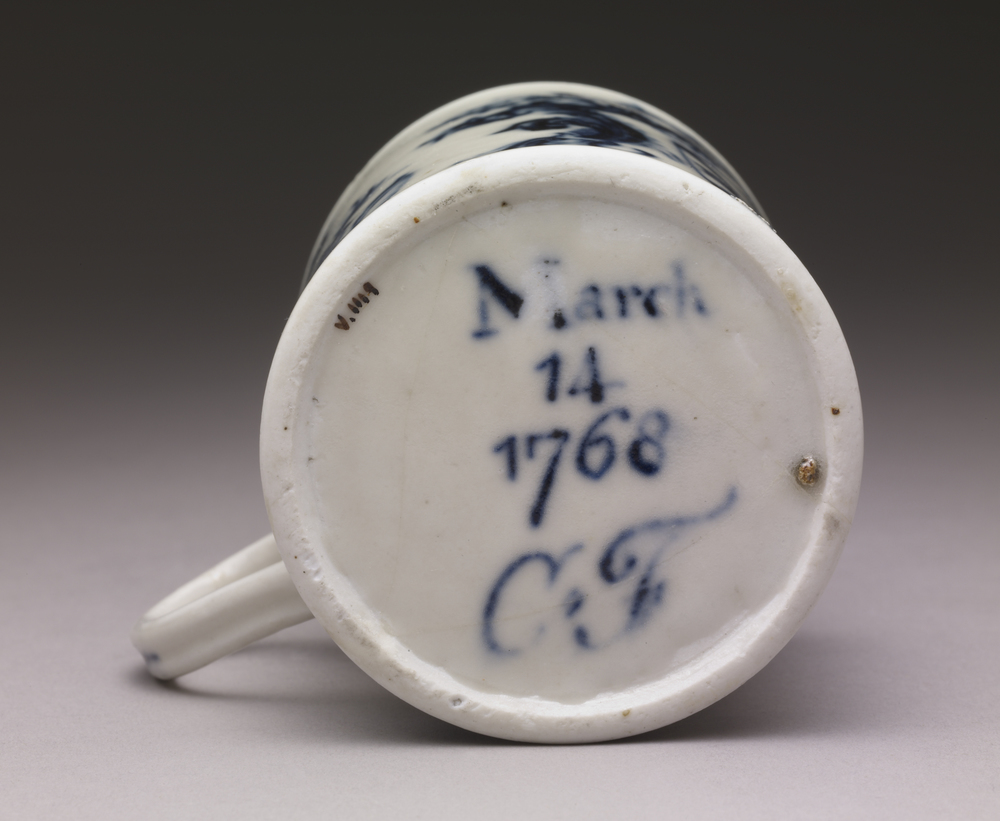 The bottom of Cookworthy's porcelain tankard, 1768  © The Trustees of the British Museum