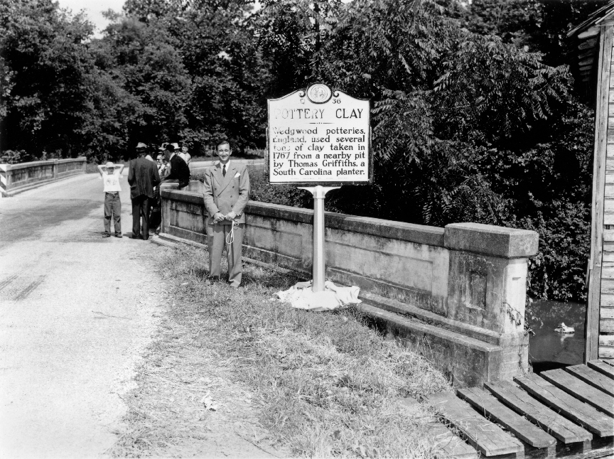Hensleigh Wedgwood and the Cherokee clay memorial, Macon County, 11 August 1950 © North Carolina Museum of History