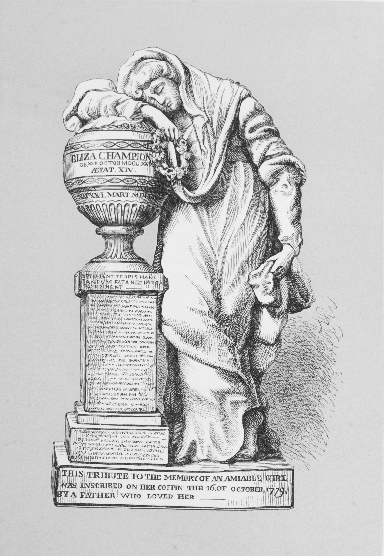 Engraving of Champion's memorial to his Eliza, 1779 ©  Two Centuries of Ceramic Art in Bristol, being a history of the manufacture of 'The true porcelain' by R. Champion , Hugh Owen, London, 1873, plate VIII