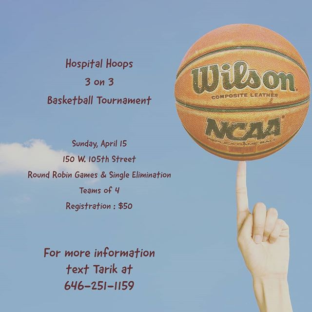 Get your squad together. Hospital Hoops 3 on 3 tournament April 15th. #3on3 #nycbasketball #hospitalbasketball #hospitalhoops #nycbasketball #nyph #mskcc #cornell