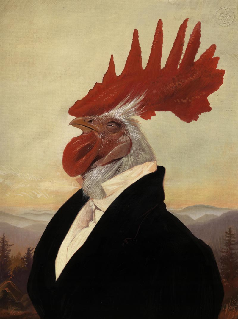 "This painting stated off as a portrait of ""The Donald"" (Trump) and just sort of went off all rooster.... © Bill Mayer 2015"