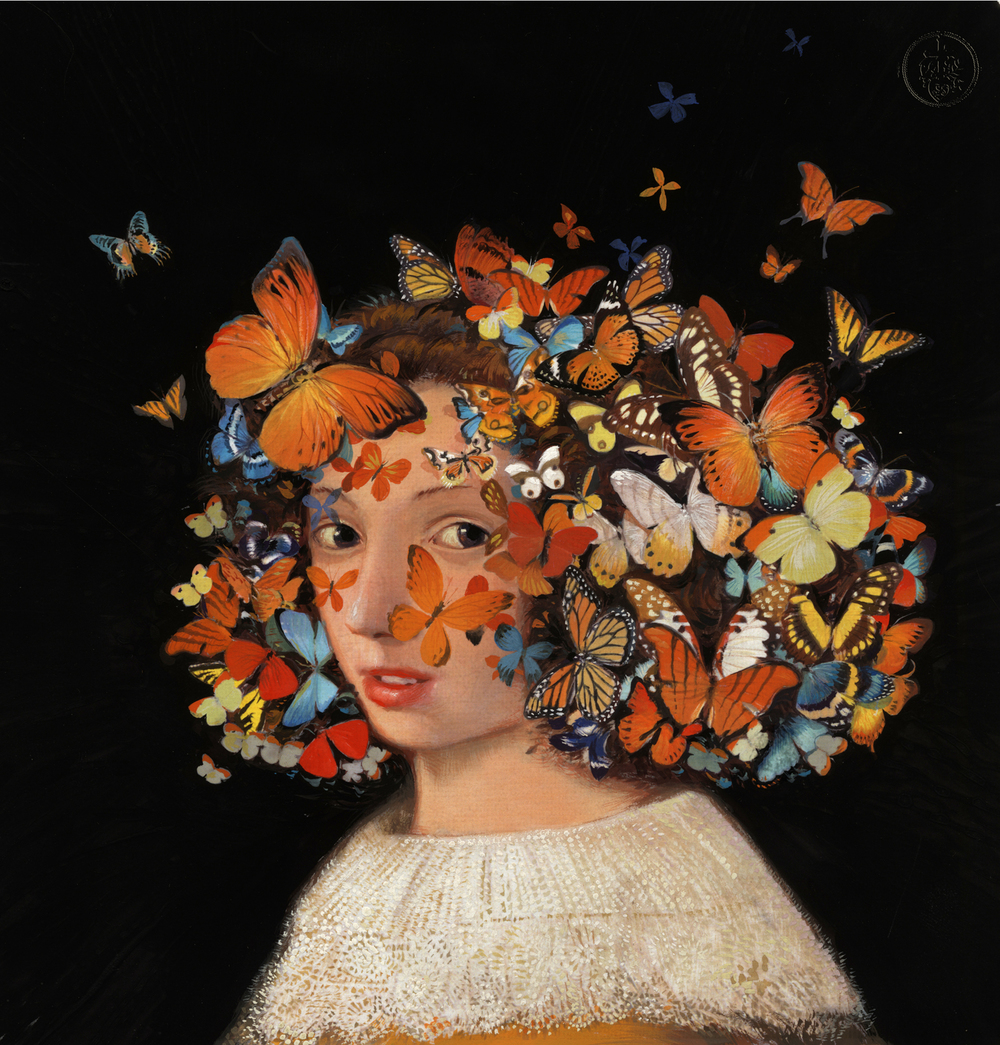 Butterfly Girl. I think might have worked better if I covered her face with butterflies...or at least maybe more of her face... (I did that) © Bill Mayer 2015