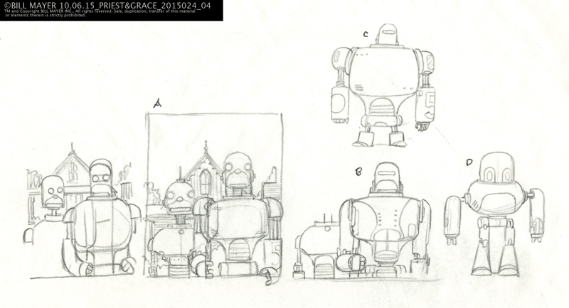 tighter thumbnail sketches trying to work out the robots...