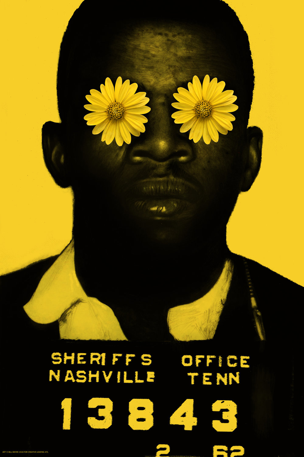"- My initial idea for the JL poster was to have flowers on his eyes like a nod back to those peace posters from the 60's. I thought it was an ironic contrast with the stark police photo but Blake got some push back from CL saying ""I'm getting everything from white appropriation with flower power to Day of the Dead. Geesh. "" Lee had already expressed some feeling that it was not the right approach so I quickly came up with a simpler solution making the reflections in the eyes into doves. Forest thought it made his eyes sparkle. A much better poster.In my initial thumbnails I had tried a cople of variations with hand written type that seemed problematic with my spelling and the time for editing nonexistant.The three posters were designed to have the letter included on the front in a column. The yellow poster to have the Letter on the back. I thought the yellow poster was by far the strongest direction."