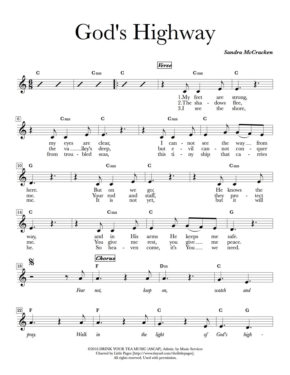 Lead sheets from   Sandra McCracken's   album  God's Highway.