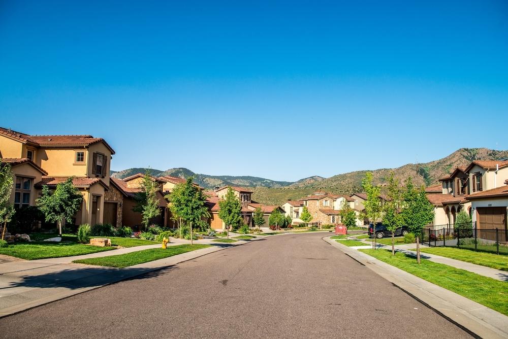 Solterra neighborhood in Lakewood, Co, nestled against the foothills.