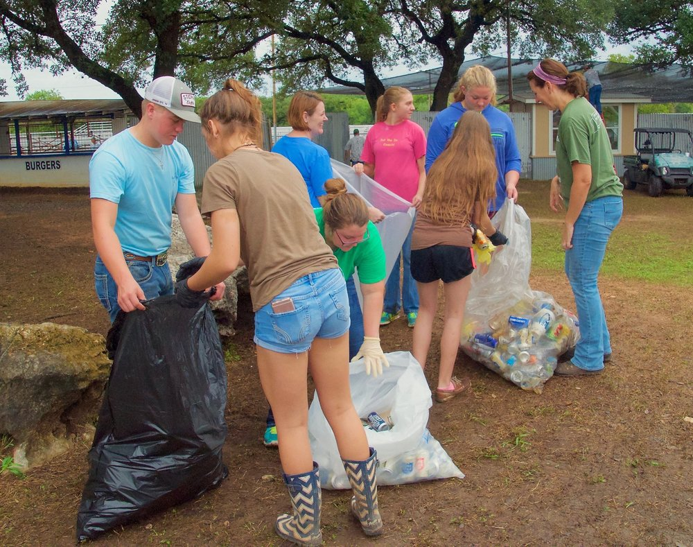 FUMCJC youth clean up after County Rodeo