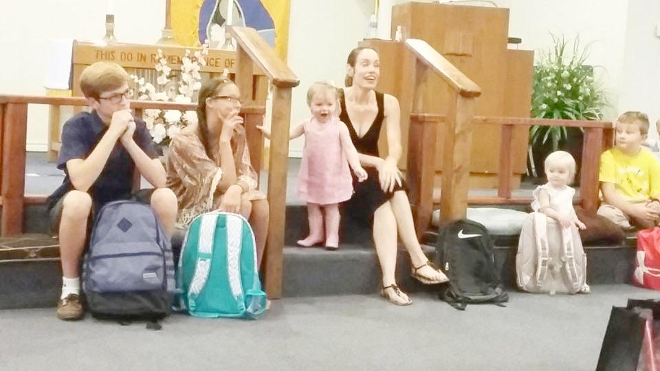 Blessing of the backpacks at Grace UMC Granite Shoals