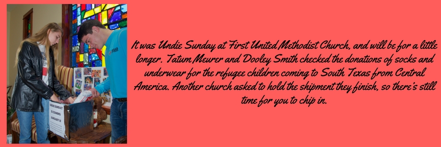 It was Undie Sunday at First United Methodist Church, and will be for a little longer. Tatum Meurer and.jpg