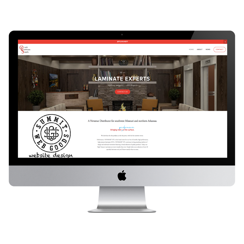 Ozark Laminate Supply website designed by Summit Web Goods Springfield, MO